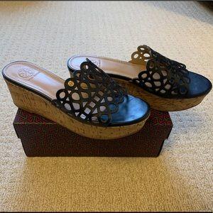 Tory Burch Navy Blue Wedge Sandals